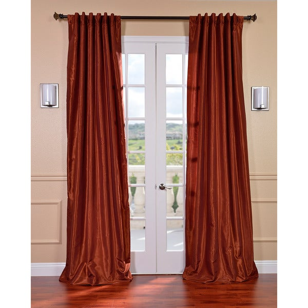 Exclusive Fabrics Burnt Orange Vintage Faux Dupioni Silk 84-inch Curtain Panel