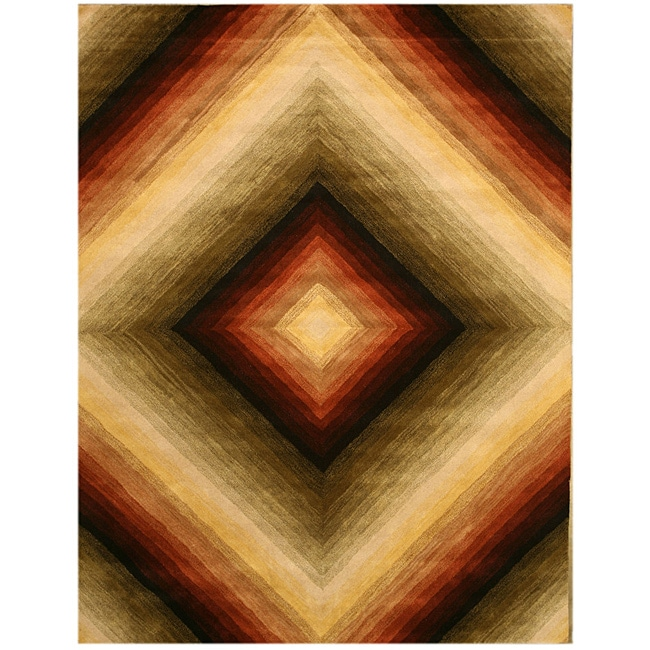 Hand-tufted Wool Contemporary Abstract  Desert Star Rug (7'9 x 9'9)