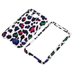 White/ Clear Leopard Rubber Coated Case for HTC Inspire 4G/ Desire HD - Thumbnail 1