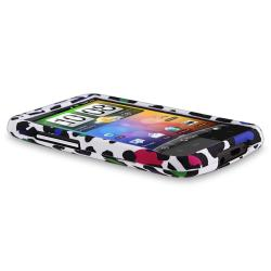White/ Clear Leopard Rubber Coated Case for HTC Inspire 4G/ Desire HD - Thumbnail 2