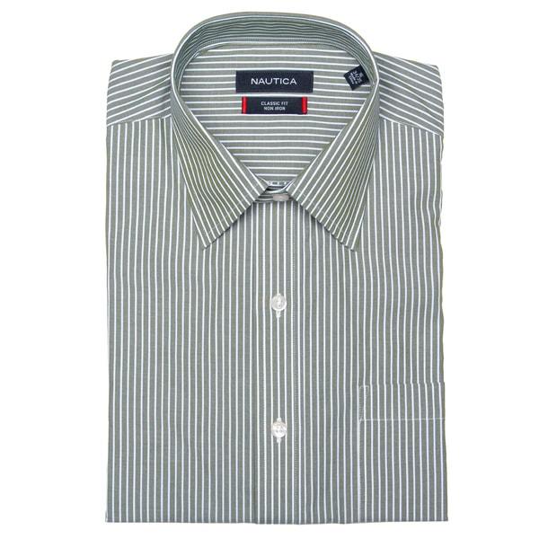 Nautica Men's Green Stripe Dress Shirt FINAL SALE
