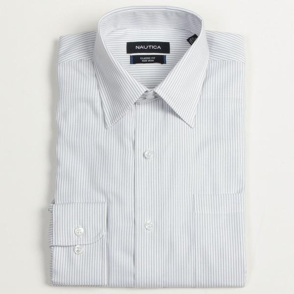 Nautica Men's Blue Striped Dress Shirt