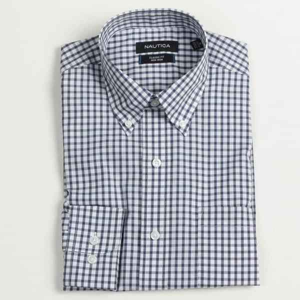 Nautica Men's Patriot Blue Checkered Dress Shirt