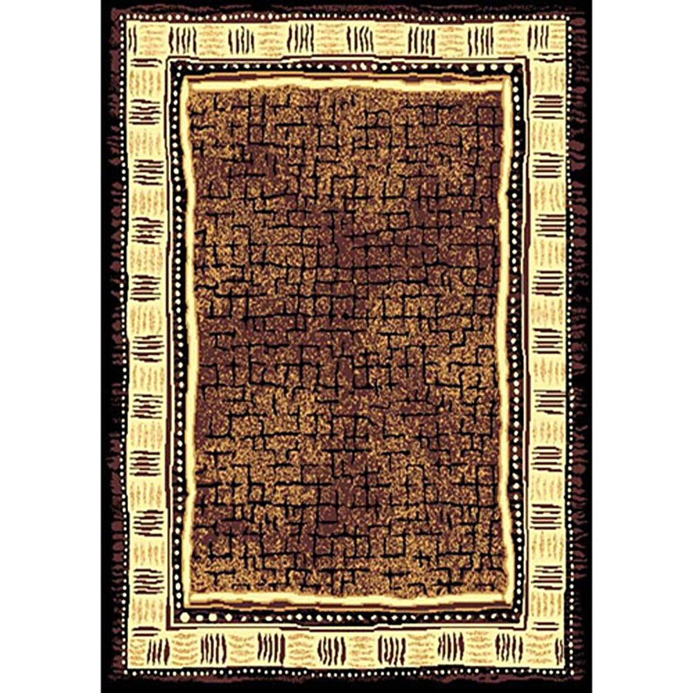 African Adventure Brown Area Rug (5' x 7')