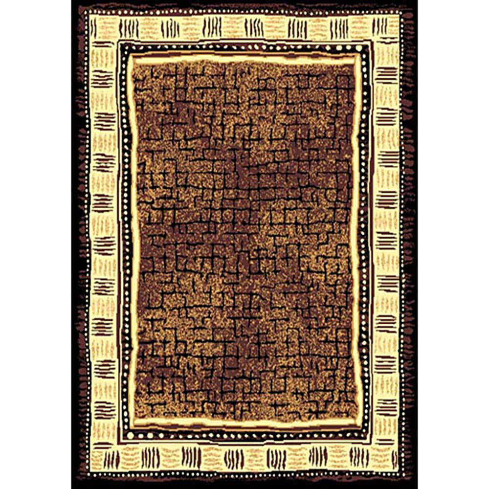 African Adventure Brown Area Rug (5' x 7') - Thumbnail 0