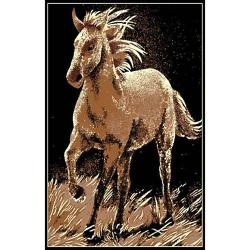 African Adventure Running Horse Black Area Rug (5' x 7')