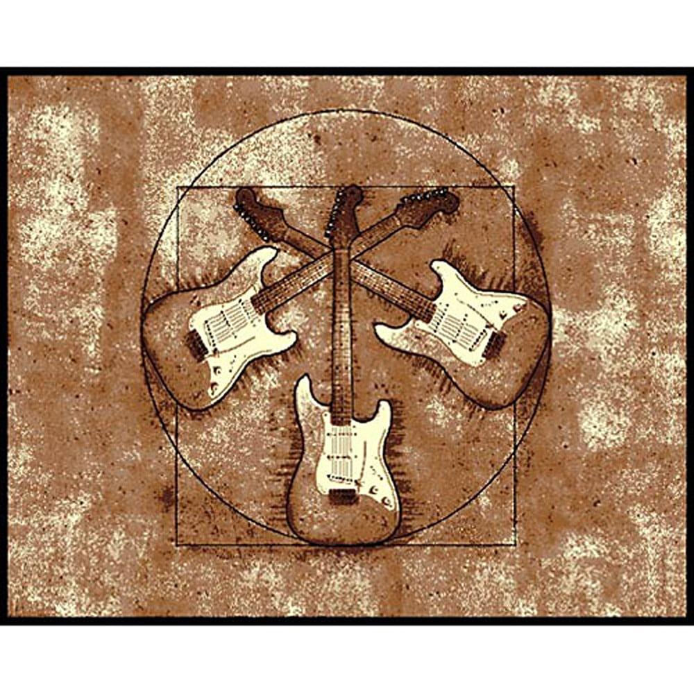 African Adventure Rock U0026 Roll Guitar Area Rug (5u0027 ...