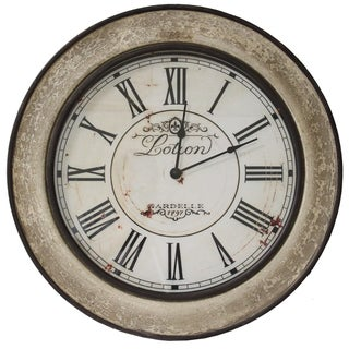 Cracked Beige Antique Replica Round Wood Wall Clock