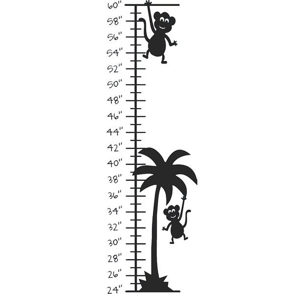 Monkey Palm Tree Growth Chart Vinyl Wall Decal On Free Shipping Today 6710928
