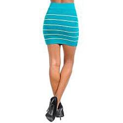 Stanzino Women's Green Striped Bandage Mini Skirt - Thumbnail 1