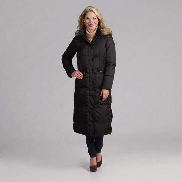 Hilary Radley Women's Black Zip-front Down Coat