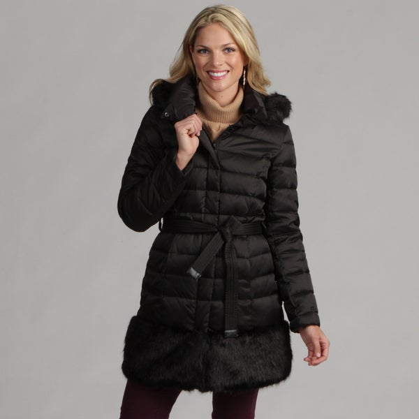Shop Hilary Radley Women S Belted Down Faux Fur Trim Coat