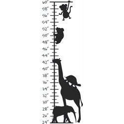 Kid's Room Cute Animals Growth Chart Vinyl Wall Decal (More options available)