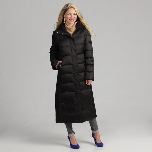 Nautica Women's Black Mellowpile Trim Long Parka