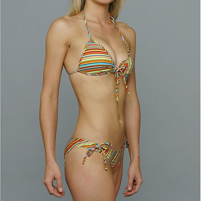 Island World Junior's Striped Halter Top 2-piece Swimsuit