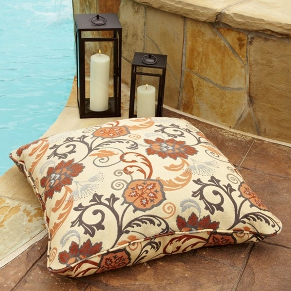 Clara Beige/ Rust Indoor/ outdoor 26-inch Square Outdoor Sunbrella Floor Pillow