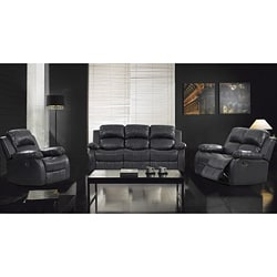 3-Piece Rotunda Black Sofa and Recliner Set