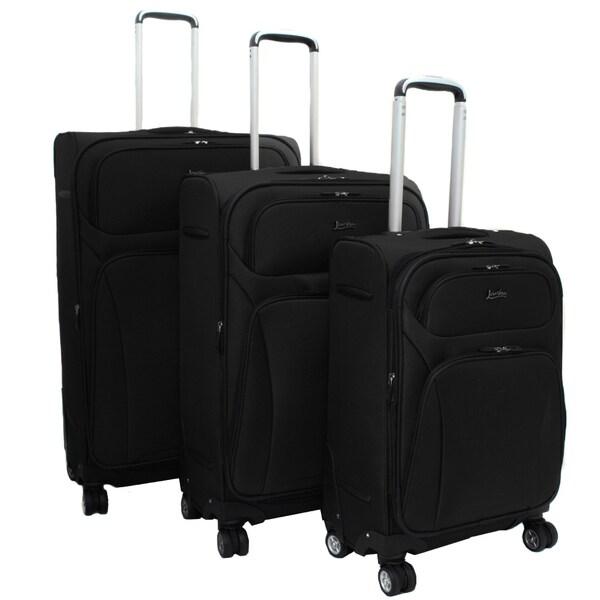 Jourdan Lightweight Black 3-piece Expandable Spinner Luggage Set