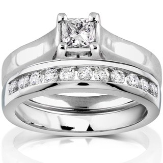 Annello by Kobelli 14k White Gold 5/8ct TDW Diamond Bridal Ring Set (H-I, SI1-SI2)