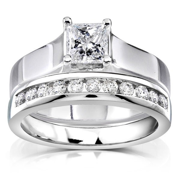 Annello by Kobelli 14k White Gold 4/5ct TDW Diamond Bridal Ring Set (G-H, I1-I2)