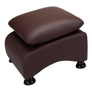 Lorenzo Coffee Brown Leather Ottoman