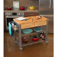 Chris and Chris Stadium Natural Hardwood/Steel Kitchen Work Station