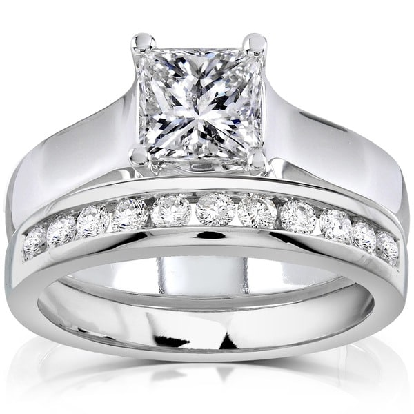 Annello by Kobelli 14k White Gold 1 1/3ct TDW Diamond Bridal Ring Set (H-I, SI1-SI2)