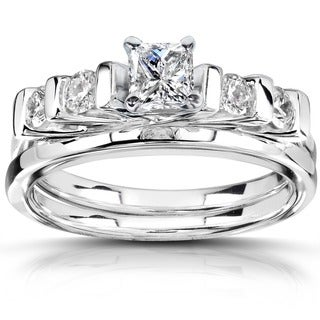 Annello by Kobelli 14k White Gold 5/8 ct TDW Diamond Bridal Ring Set