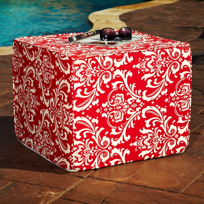 Brooklyn Red Damask 22-inch Square Indoor/ Outdoor Ottoman