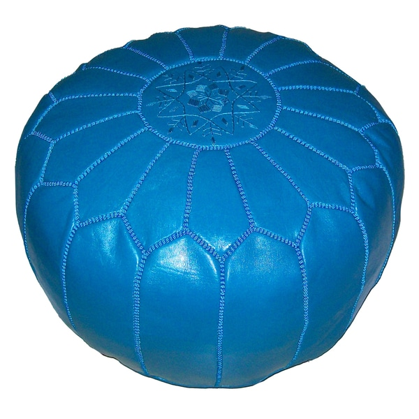 Contemporary Leather Ottoman Turquoise (Morocco)