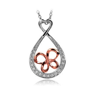 Bridal Symphony Sterling Silver with 10k Rose Gold Infinity Butterfly 0.07ct Diamond Accent Necklace (I-J, I2-I3)