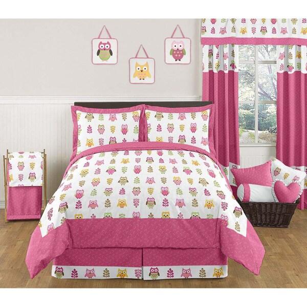 Sweet JoJo Designs Pink Happy Owl 3-piece Full/Queen Bedding Set