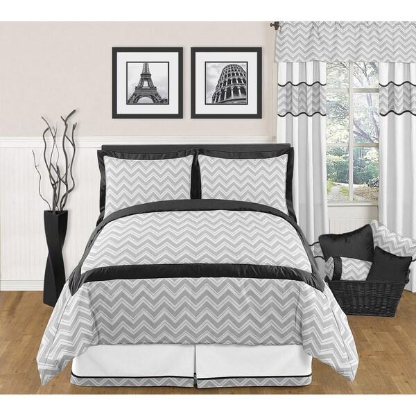 Sweet JoJo Designs Grey and Black Zig Zag 3-piece Full / Queen-size Bedding Set