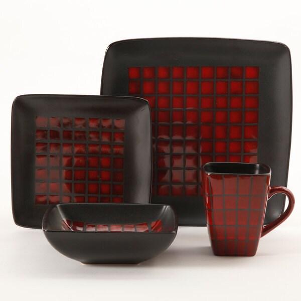 Gibson tamarask red black rattan design 16 piece - Black and red dinnerware sets ...