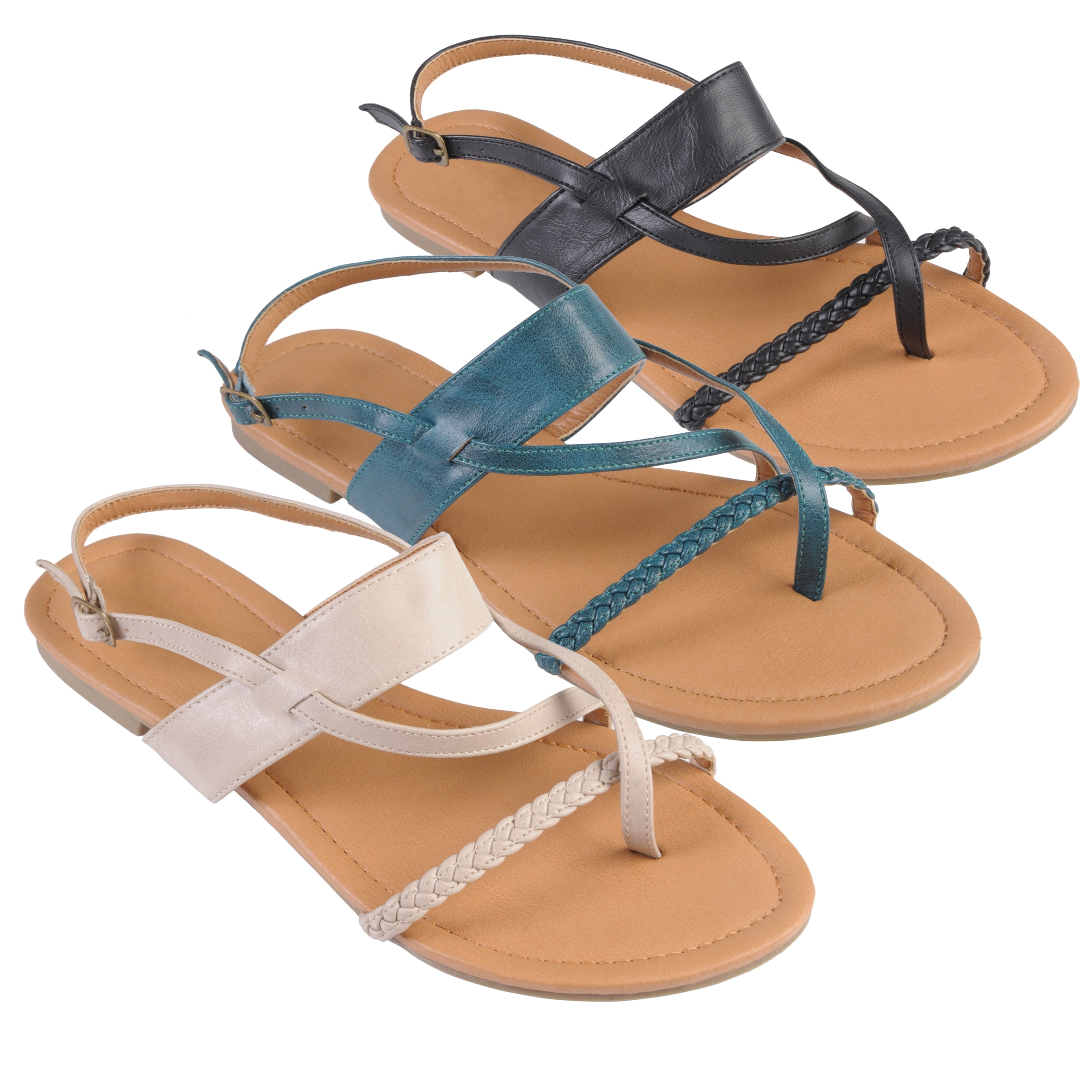 Journee Collection Women's 'Grass-35' Strappy Thong Flat Sandals