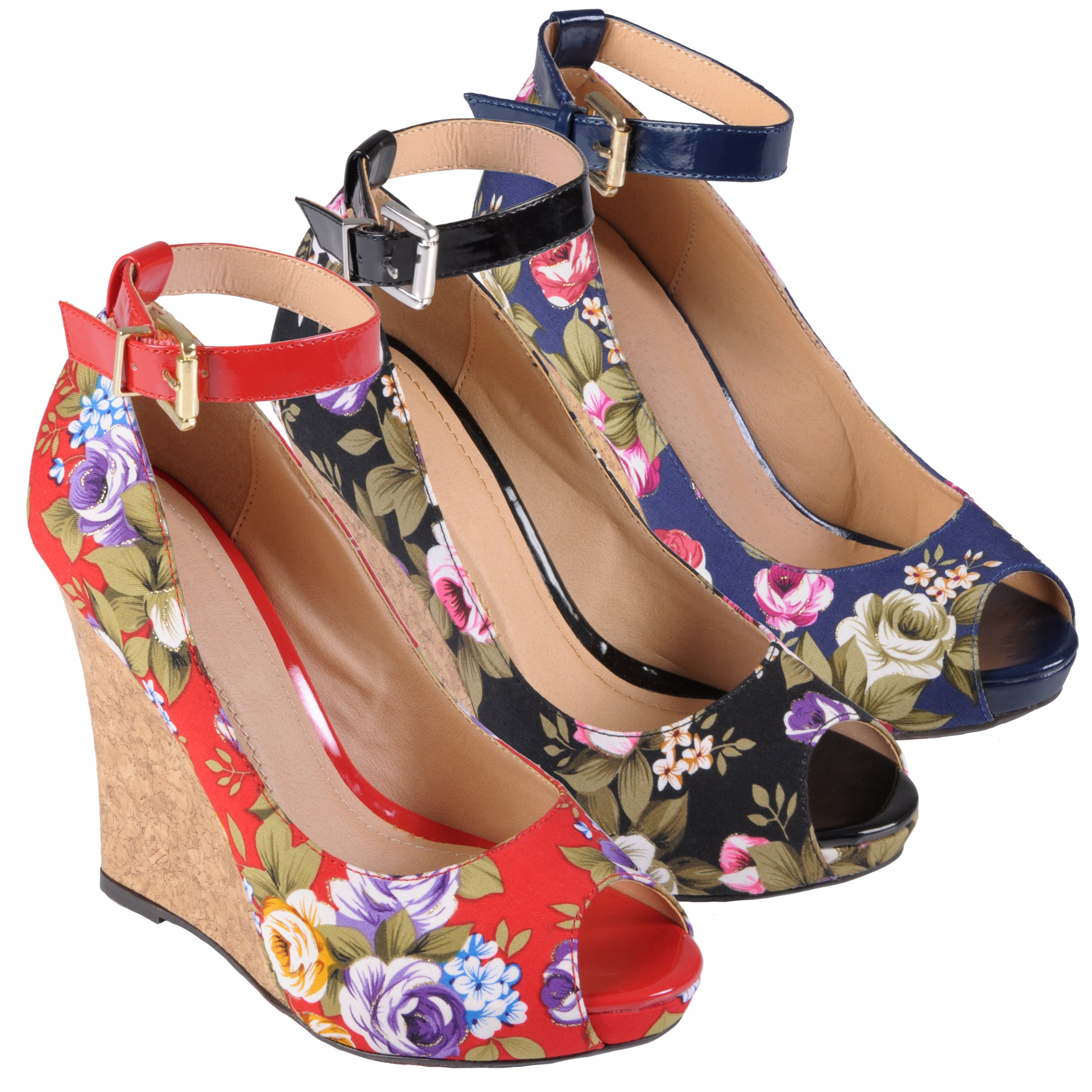 Hailey Jeans Co Women's 'Melt-38' Peep Toe Ankle Strap Wedge