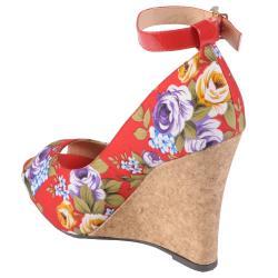 Hailey Jeans Co Women's 'Melt-38' Peep Toe Ankle Strap Wedge - Thumbnail 1
