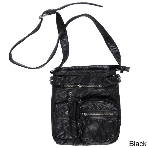 Womens White Multi Pocket Faux Leather Shoulder Bag Ladies Cross Body Handbag