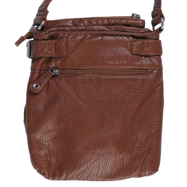 Ladies Women Faux Leather Medium Cross Body Multi Pocket Shoulder Bag Handbag