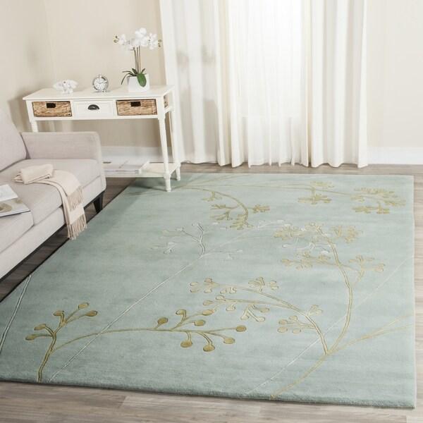 Safavieh Handmade Soho Vine Light Blue New Zealand Wool Rug (3'6 x 5'6')