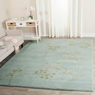 Safavieh Handmade Soho Vine Light Blue New Zealand Wool Rug (7'6 x 9'6)