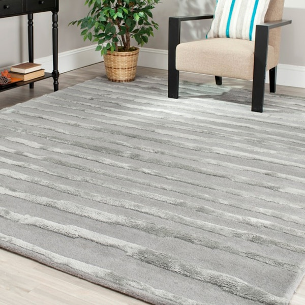 Safavieh Handmade Soho Stripes Grey New Zealand Wool Rug - 9'6 x 13'6