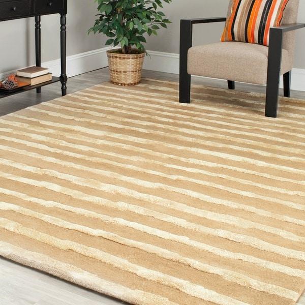 Safavieh Handmade Soho Stripes Beige/ Gold New Zealand Wool Rug (6' Square)