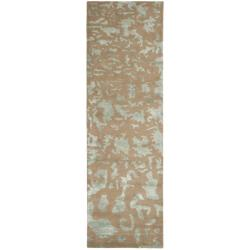 Safavieh Handmade Soho Taupe/ Light Blue Grey New Zealand Wool Runner (2'6 x 10')