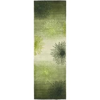 Safavieh Handmade Soho Burst Green New Zealand Wool Runner (2'6 x 10')