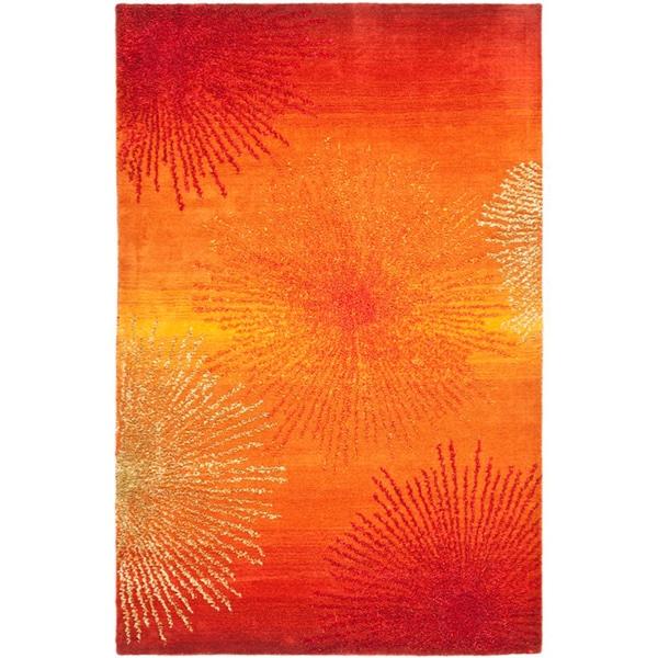 Safavieh Handmade Soho Burst Rust New Zealand Wool Rug - 8'3 x 11'