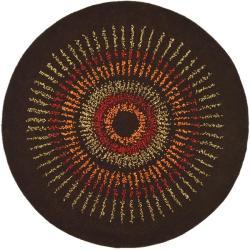 Safavieh Handmade Deco Explosions Brown/ Multi N. Z. Wool Rug (8' Round)