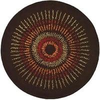 Safavieh Handmade Deco Explosions Brown/ Multi N. Z. Wool Rug (8' Round) - 8'