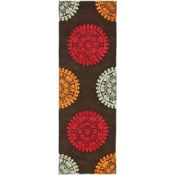 Safavieh Handmade Soho Chrono Brown/ Multi N. Z. Wool Runner (2'6 x 12')