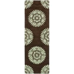 Safavieh Handmade Soho Chrono Brown/ Teal New Zealand Wool Rug (2'6 x 6')